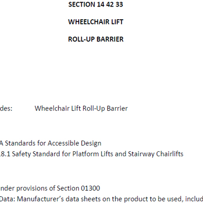 Accessor I & II Roll-Up Barrier Specifications