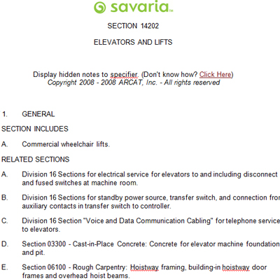 V1504 Hoistway Specifications